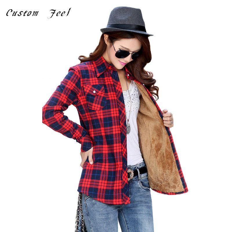 41b70ab5f31 Velvet Thick Warm Women Checked Shirt Women s Long Sleeve Tops M-XXL Size  Winter Check Blouse Blusas Femininas Chemise Autumn