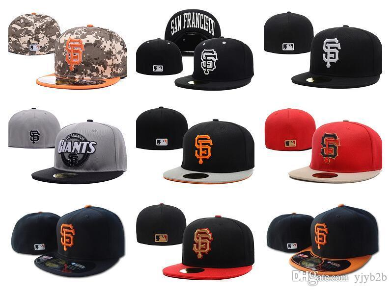 Wholesale Giants Sport Fitted Flat Hats SF Letter Embroidered Closed Size  Caps Hip Hop Design Bones Chapeu Cheap Men S Women S Hat Make Your Own Hat  ... 2fe051ee0ff6