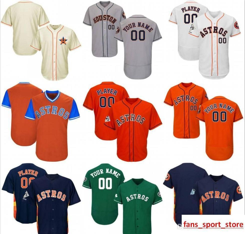 2019 Custom Mens Womens Youth Astros Baseball Jerseys Grey Cream White  Green Navy Orange Stitched Any Name Any Number Flex Base Cool Base Jersey  From ... c61aaafb4