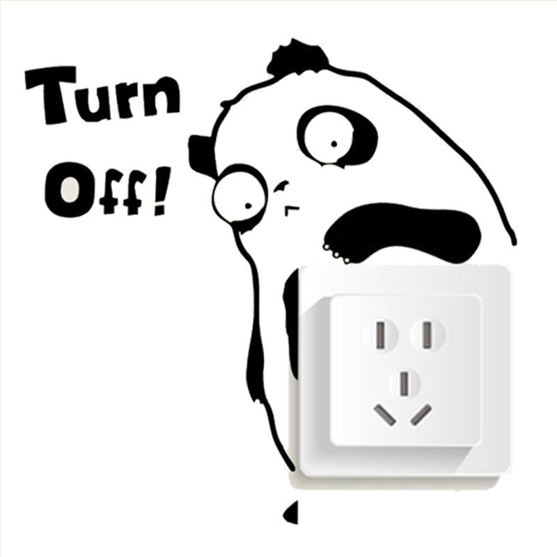 Creative Panda Remind You Turn Off Switch Stickers Outlets ...
