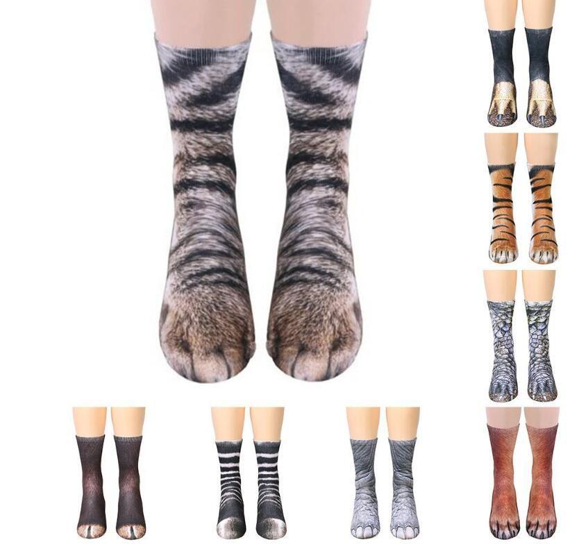 Unisex 3D Animal Paw Feet Printing Adult Kids Socks Men Women Big Kids Digital Simulation Animal Foot Hoof Print Mid-calf Sock Sports Socks