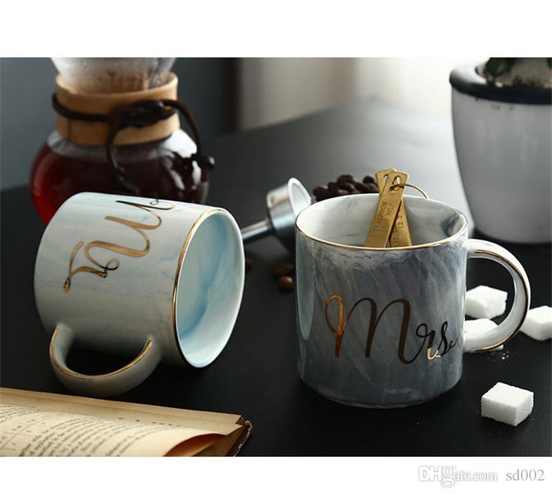 Marble Ceramic Mug Creative Coffee Cup Multi Color Mr And Mrs Tea Cups 13 23se C R