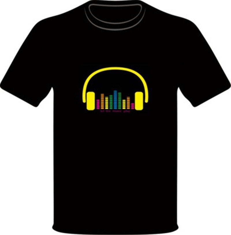 Heißer Verkauf Sound Aktiviert Led Baumwolle T-shirt Licht Auf und Ab Blinkende Equalizer EL T-Shirt Männer für Rock Disco Party DJ Top T Q0474