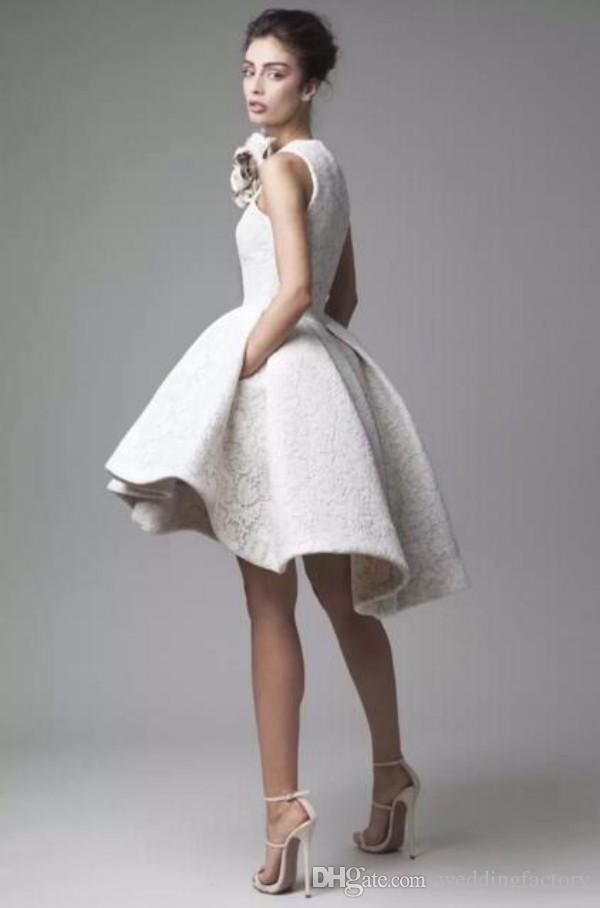 Vintage Spitze Hochzeitskleid Krikor Jabotian Juwel Sleeveless High Niedrige Brautkleider Kurze A-Linie Strand Brautkleider mit Blume