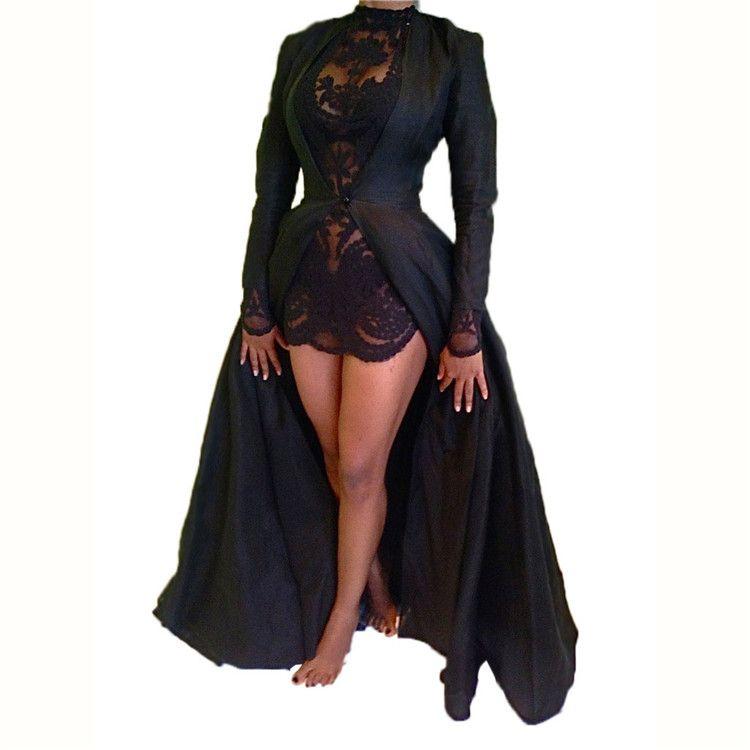 36c3708f Moda Vestidos Sexy Mujer Fiesta de Noche de Verano de Manga Larga 2 Piezas  Vestido de Calidad Superior de Encaje Negro Gasa Maxi Vestido