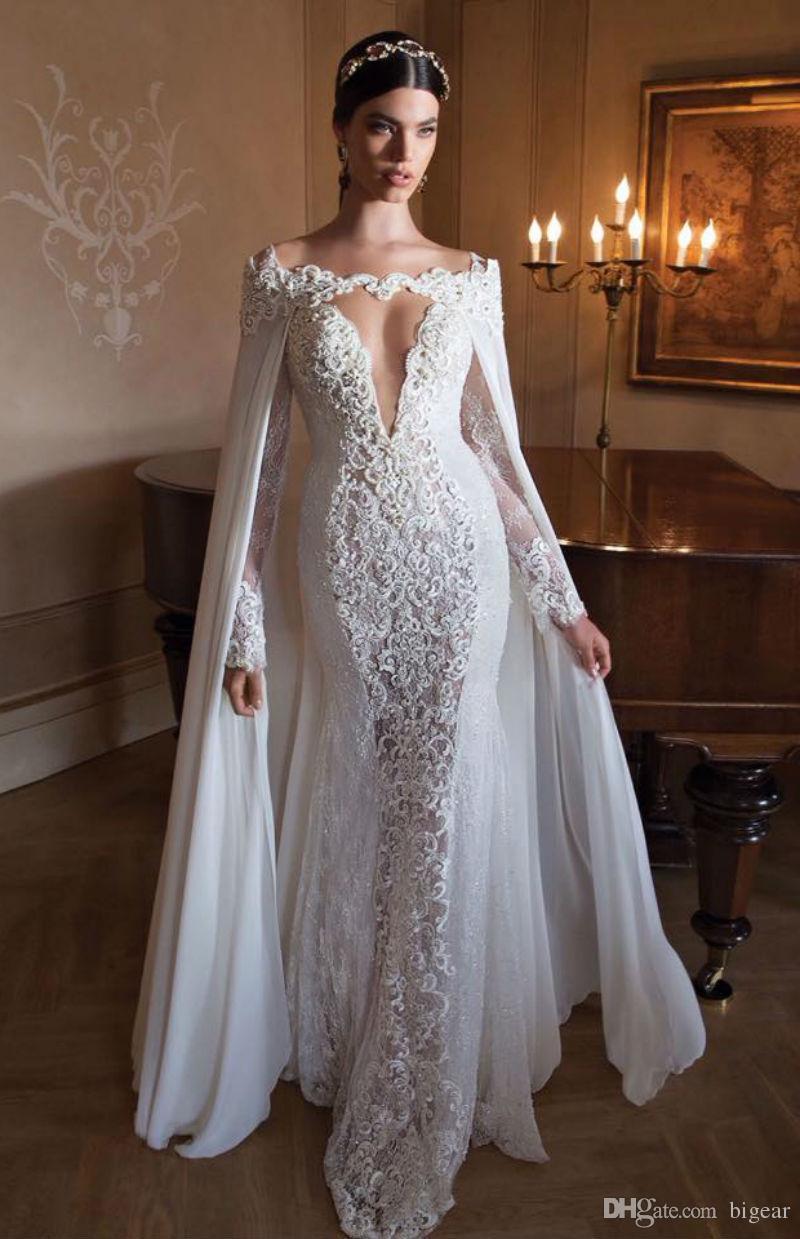 Fuera del hombro Longitud del piso Envolturas nupciales largas con encaje Perlas Mantón nupcial Elegante accesorio nupcial para novias Capa de alta calidad