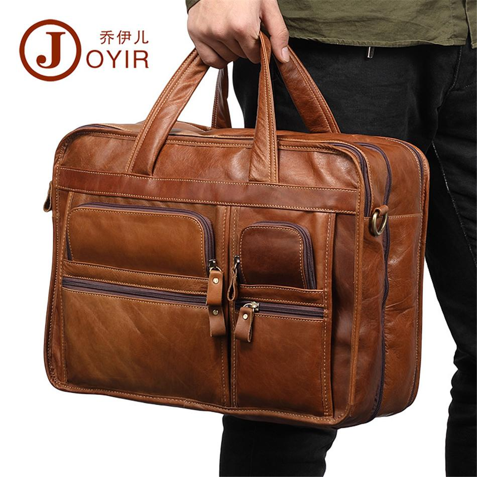 Joyir high quality men's briefcase cow leather casual tote oily leather laptop bag male cross body bag business messenger bags