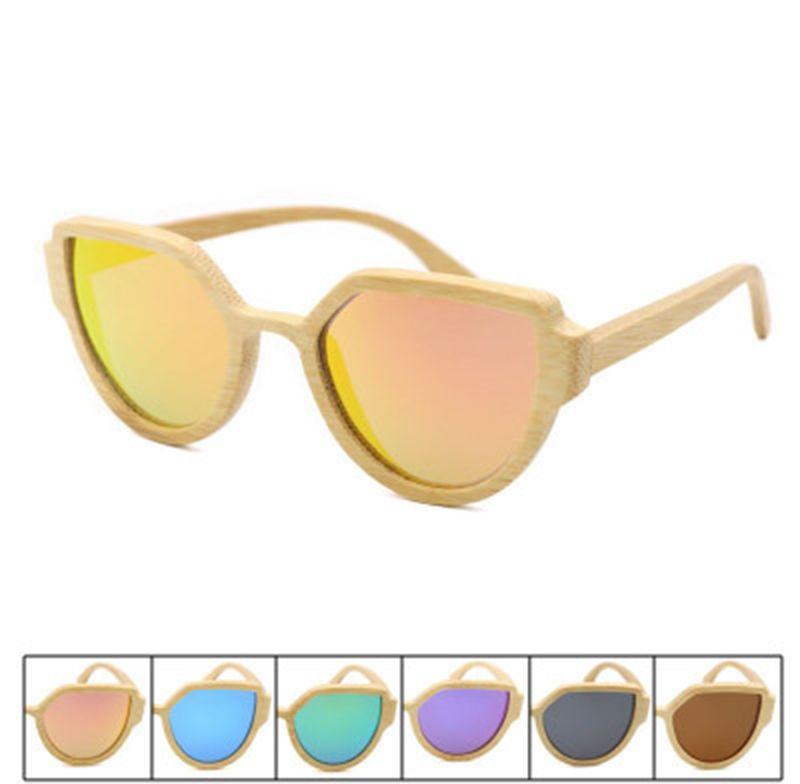 7849d87f059 Fashion Bamboo Polarized Cat Eye Sunglasses Men Polarized Wooden Sun ...