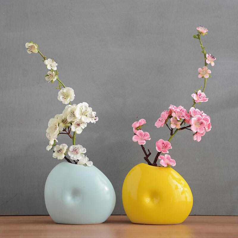 Chinese Ceramic Vaselamei Artificial Flower Set Decoration