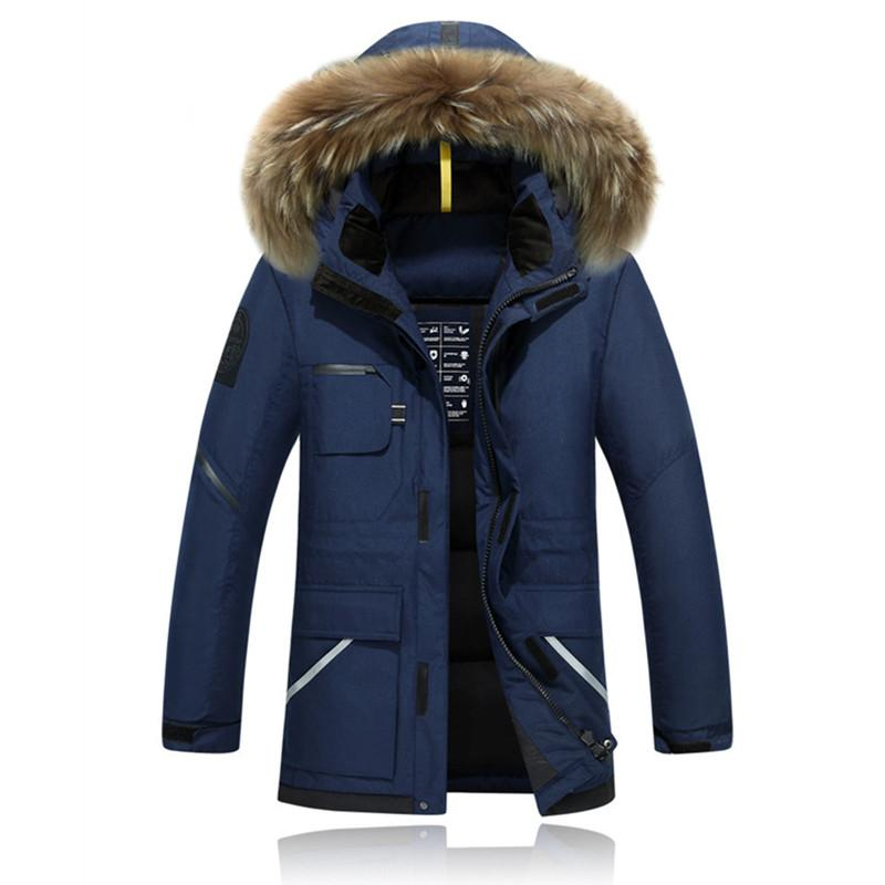 a651424999 2019 New Winter Jacket Men S Camouflage Pattern Long Ski Jacket Thickening  Hooded Fur Collar White Duck Down Warm Coats From Suipao