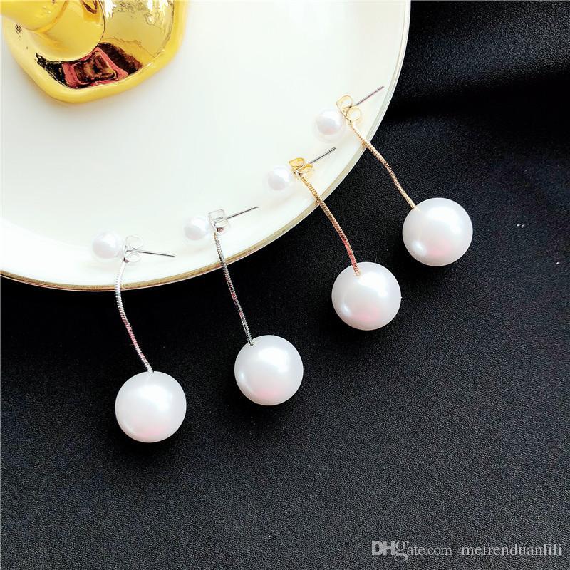 Double Pearl Drop Earrings 925 Sterling Silver Long Earrings For Women Snake Chain Link Earrings Fashion Jewelry des boucles d'oreilles