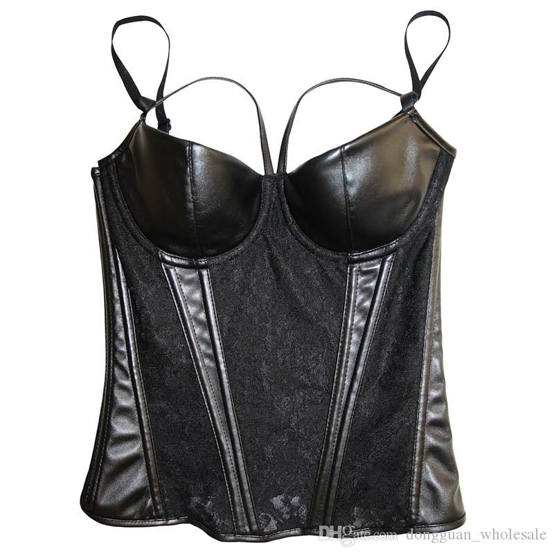 Black Wetlook Gothic Women's Slimming Waist Trainer Hot Body Shaper Sexy Sheer Floral Lace Leather Corset Bustier Plus Size XXXL