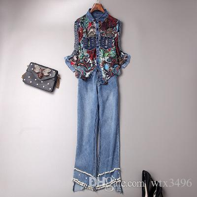 7badec1f975 Spring women's floral print denim two piece trousers sets Printed blouse  patchwork denim hollow-out shirt Bottoms beads flare trousers suits