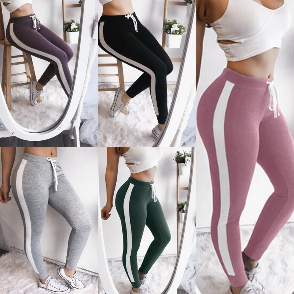 0084bceae84bc4 New Fashion Womens White Side Cotton Leggings Slim Elastic Workout ...