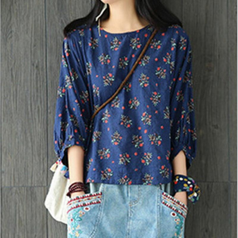 0d15b81ceb7 Vintage Casual Floral Printed T Shirt Women Comfortable Cotton Linen Top  Autumn T-Shirt Ladies Three Quarter Sleeve Tees T-Shirts Cheap T-Shirts  Vintage ...