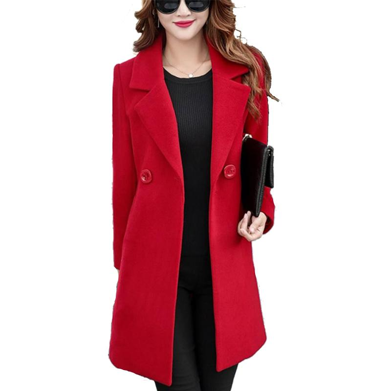 Feitong Single breasted red wool coat Woman slim winter coats Female plus size 4xl long cape coat