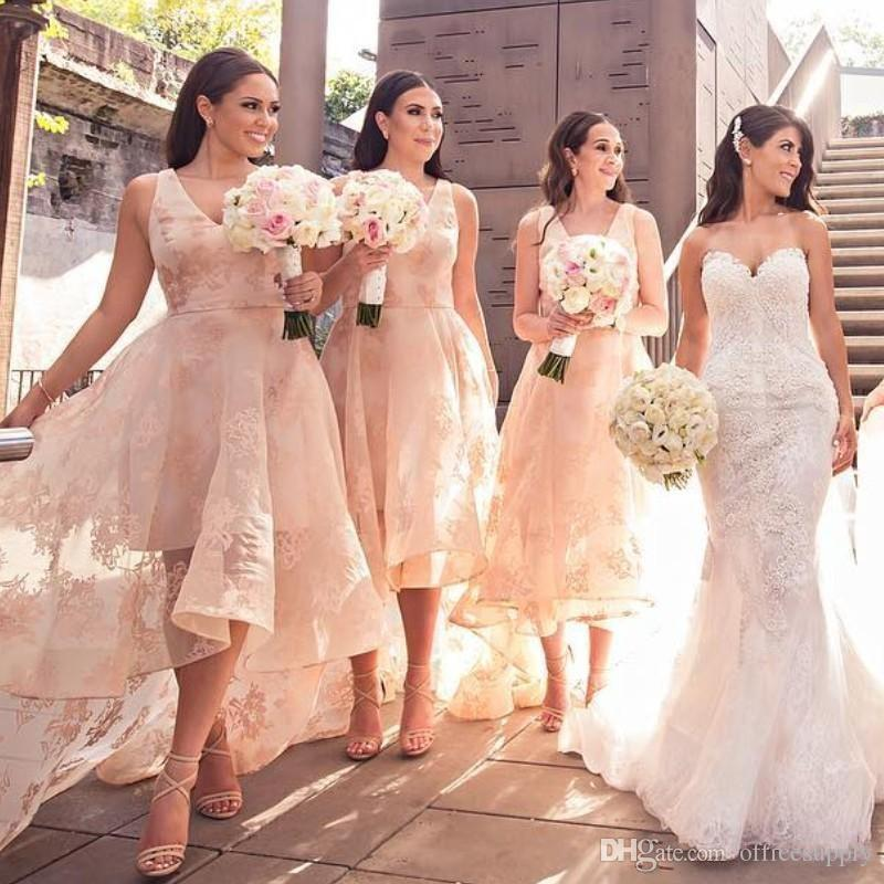 High Low Style Bridesmaids Dresses V-Neck Lace Applique Sleeveless Tulle Wedding Party Bridesmaid Dress Sexy See Through Prom Dresses