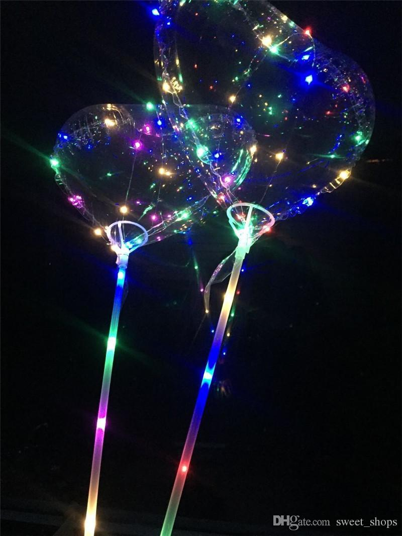 Love Heart LED Luminous Balloon BoBo Ball Flashing Light Transparent Hear Shape 3 Meters Balloons With Pole Toys for Valentine's Day Wedding