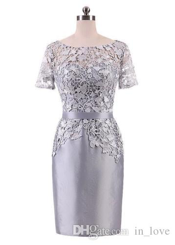 156569e6fc45 Knee Length Silver Mother Of The Bride Outfits Groom Mom Dress Lace Satin Short  Sleeve Sheath Wedding Guest Gowns Custom Size Groom Mother Dress Long Sleeve  ...
