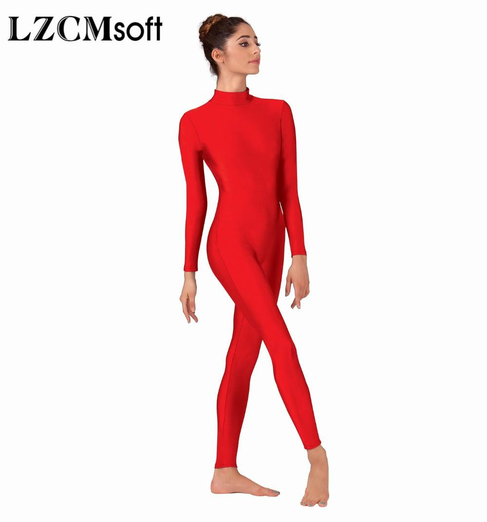 Compre LZCMsoft Mujeres Cuerpo Completo Falso Cuello Manga Larga Ballet  Unidades Bodys Adultos Lycra Spandex Traje De Baile Mostrar Trajes A  27.57  Del ... e4602c4d6285