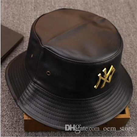Mode PU Leder Hip Hop Caps Eimer Hüte für Männer und Frauen Brief Golf Hut schwarz Fischer Strand faltbare Angeln Caps Beanie Skull Cap