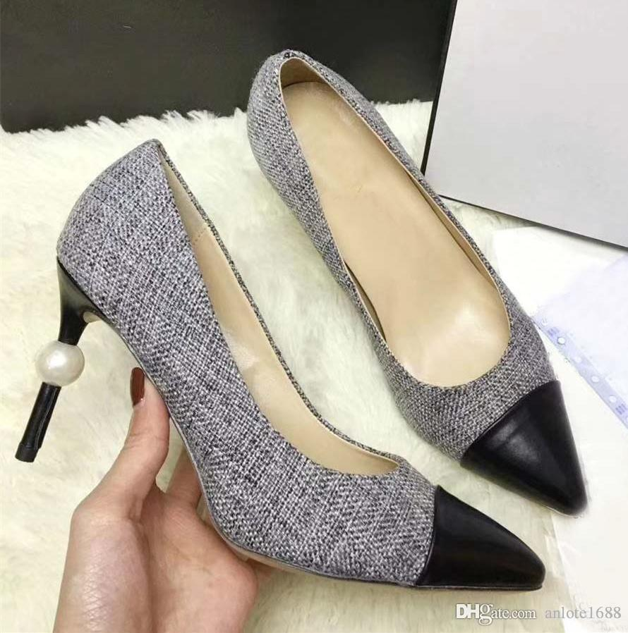 Classic Women Pointed Toe Leather Pumps Female Tweed Fabric Sandals Beige  Pearl Heels Slippers High-heeled Dress Wedding Shoes Classic Women Pointed  Toe ... 1a2c5a8770e3
