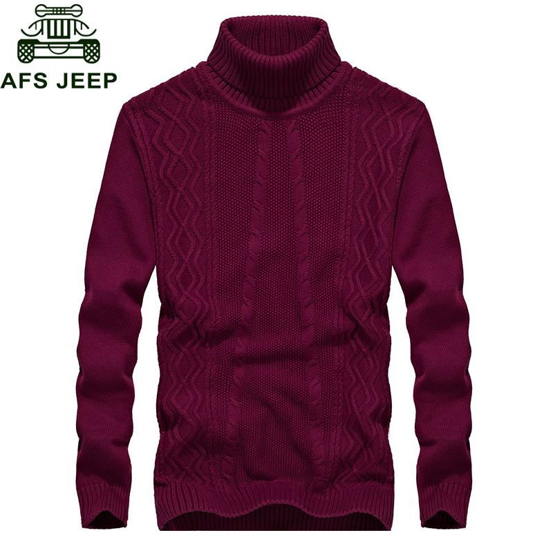 Afs 2018 Autumn Winter New Sweater Men Fashion Turtleneck Long Sleeve Warm Mens Knitted Wear Cotton Sweater Plus Size M-3XL