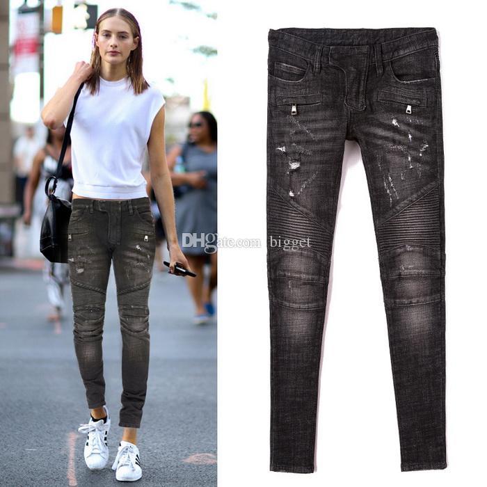 6170cc805df4 Acheter Jeans De Motard Noir Pour Femmes Délavé Scratched Slim Fitness Dark  Wash Denim Pants Ladies 2018 Fashion Girls Cowboy Trousers De  45.23 Du  Bigget ...