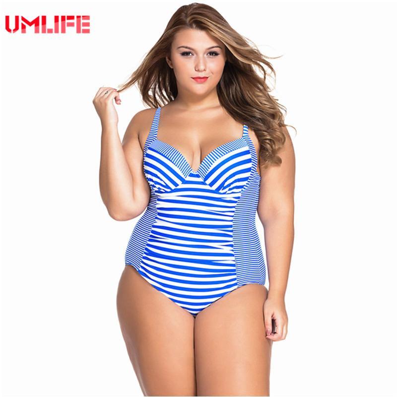 17f15b855c33b 2019 UMLIFE One Piece Swimsuit Plus Size Swimwear Women Striped Bandage Bathing  Suit Large Size Tankini Swimsuits Woman Plavky From Kennethy