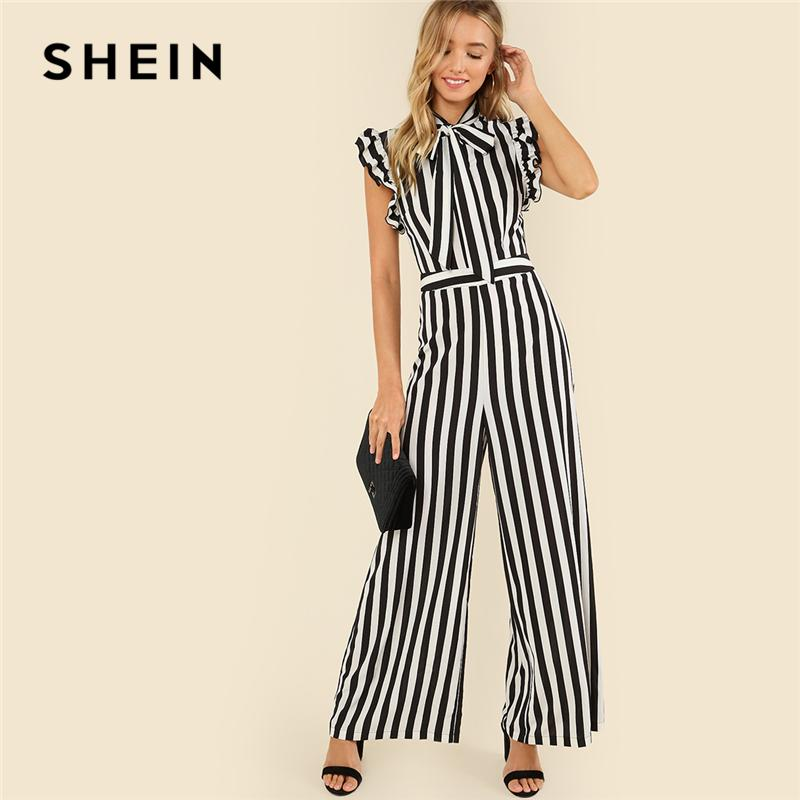 373337366f1a 2019 Wholesale Black And White Casual V Collar Sleeveless Tie Neck Ruffle  Armhole Striped Palazzo Jumpsuit Summer Women Workwear Jumpsuit From  Yigu003