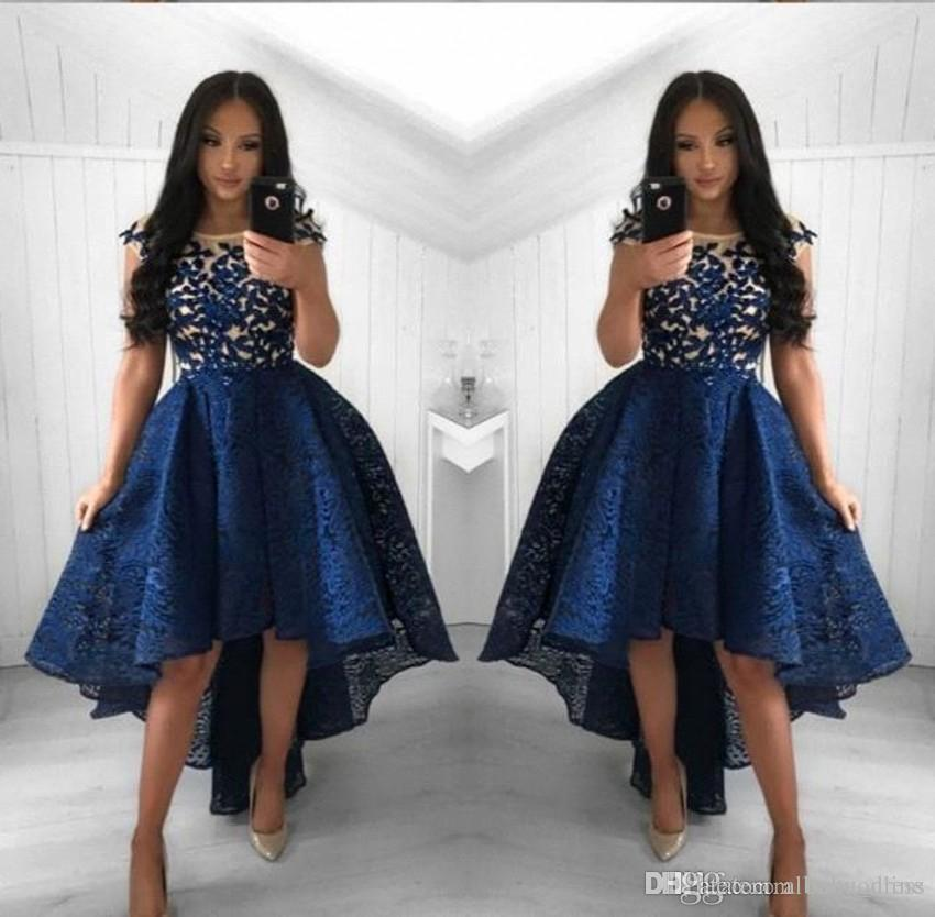 a2c8adfee1 2019 Vintage Navy Blue Lace Cocktail Dresses Neck High Low Short Party Prom  Gowns Homecoming Dresses Arabic Vestidos Evening Dresses Satin Cocktail  Dress ...