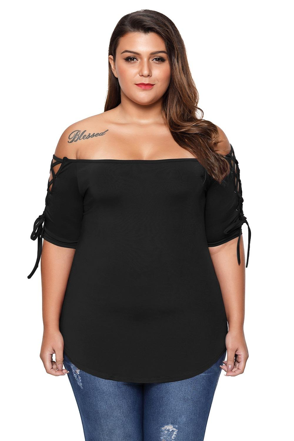 4c9261ab1 New Plus Size Lace -Up Off Shoulder T Shirt Women Summer T Shirt ...