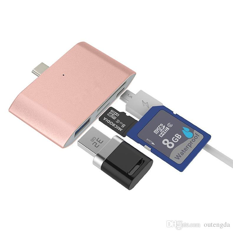 4 in 1 type-c OTG USB-C card reader Flash Drive Multi-Card OTG Reader Micro SD & TF Memory USB Card Reader Adapter for HUAWEI mate10 P20 P9