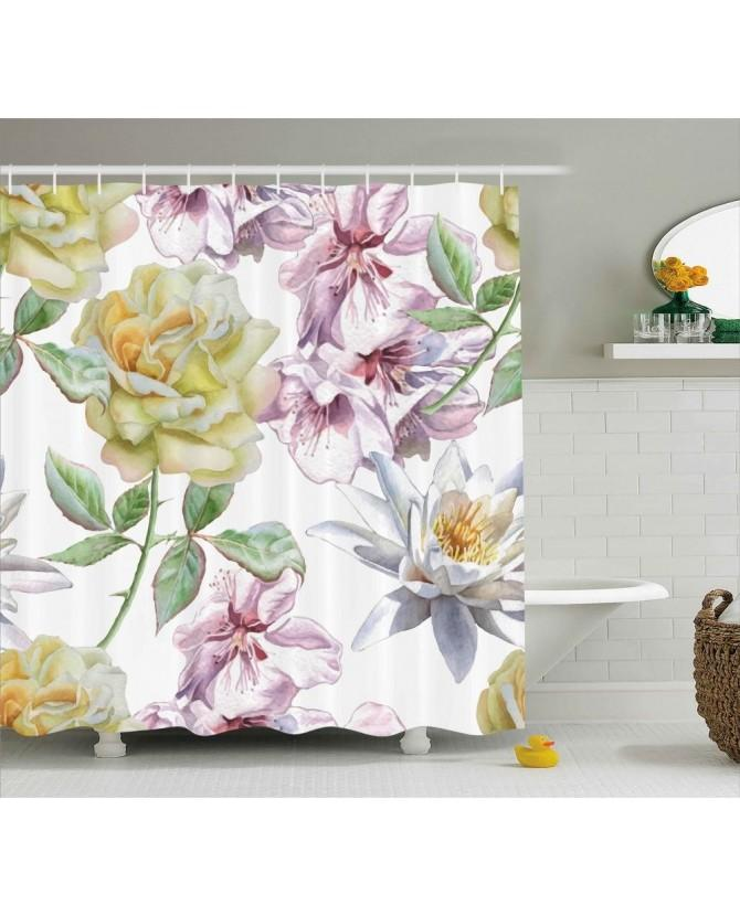 2018 Floral Shower Curtain Rose Petals Sakura Lily Print For Bathroom Waterproof And Fabric Romantic From Sheiler 3243
