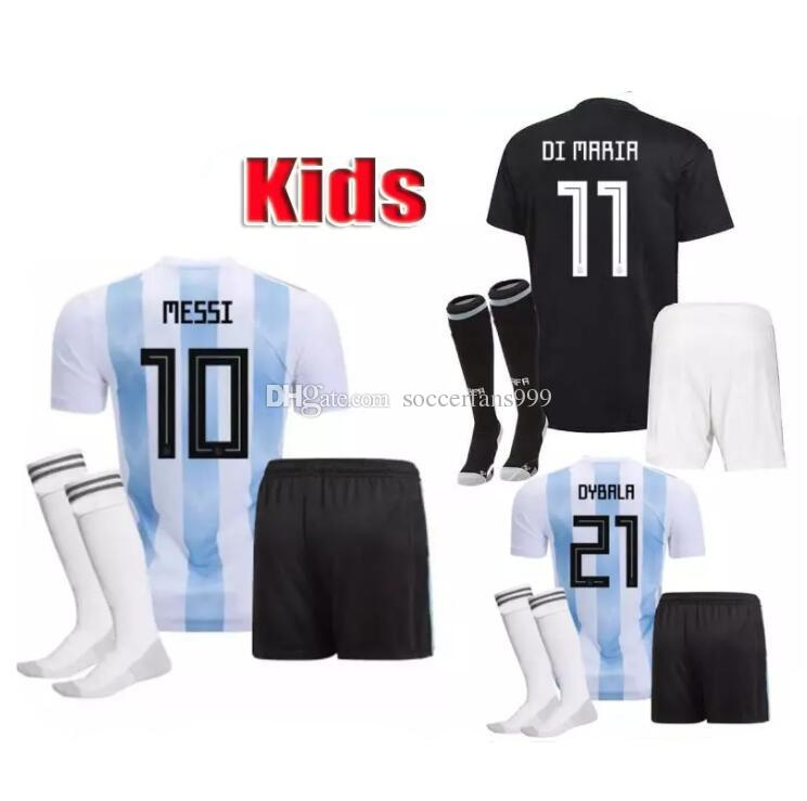 cd319714803 2019 2018 Argentina World Cup MESSI DYBALA Argentina Kids Kit Home Away Soccer  Jersey AGUERO DI MARIA HIGUAIN 18 19 Home Football Shirts From  Soccerfans999