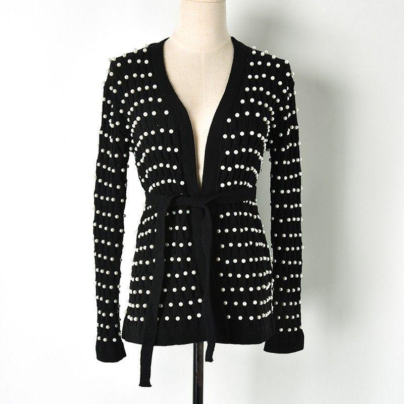 bcc1d1e982bd Moda mujer completo rebordear negro Cardigan Outfit manga larga Open Stitch  suéter con Sash Wild Cardigan Sweater Outfits Escudo
