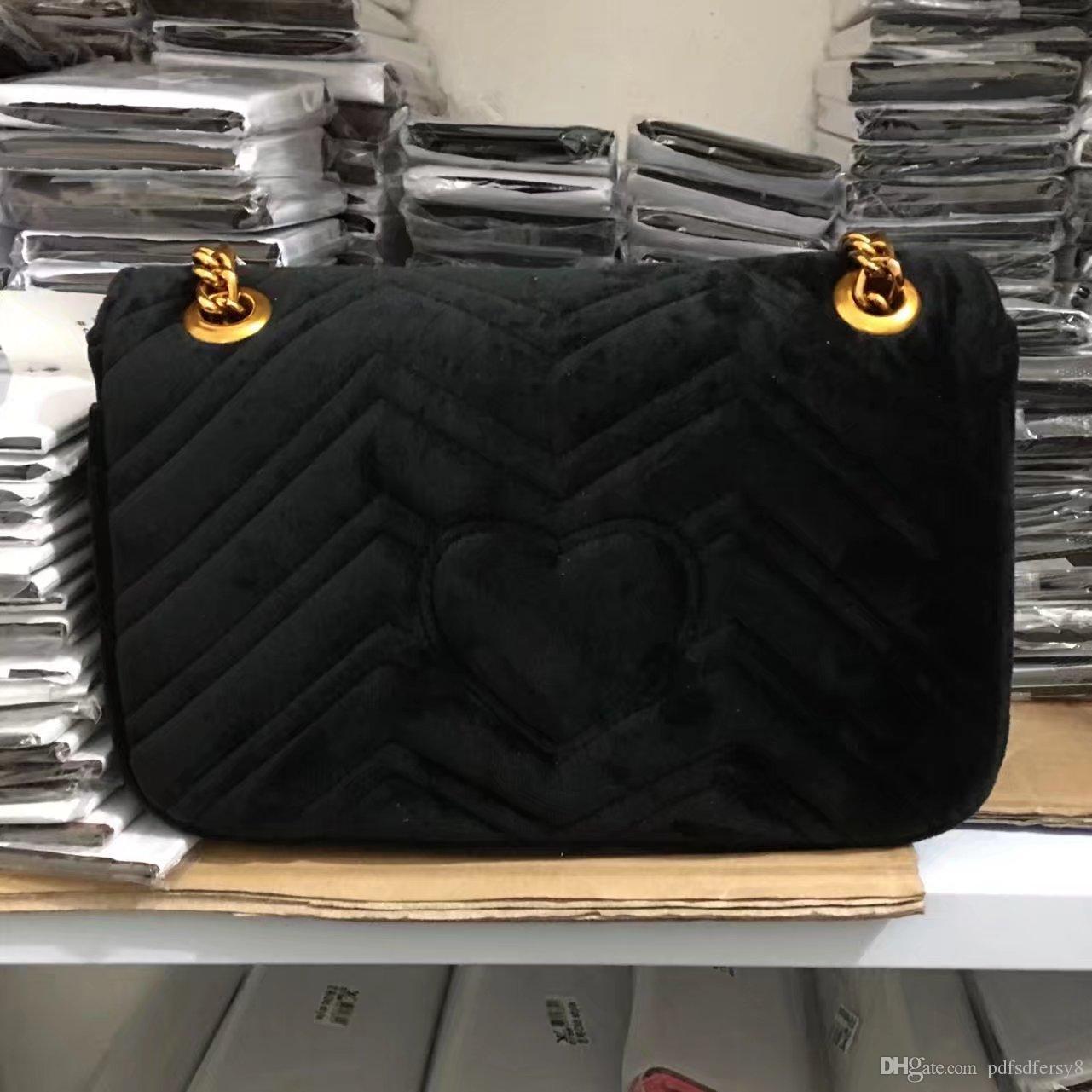 Frete grátis 2018 New bolsa de maquiagem cadeia de moda presente da bolsa de ombro bolsa famosa festa de luxo de veludo Mulheres designer sacos