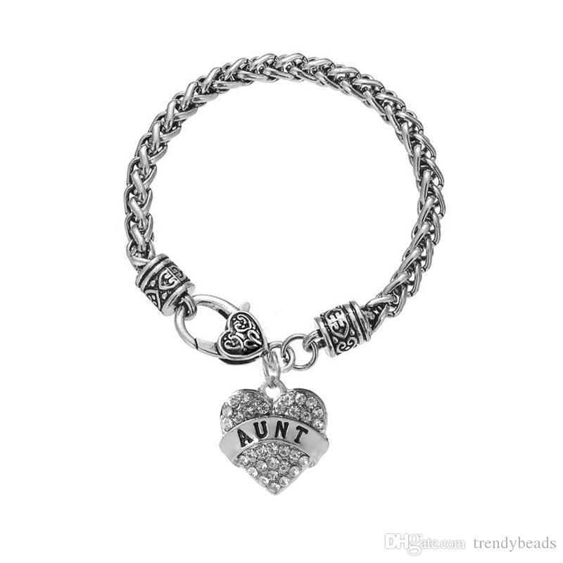 Mother's Day Gift for Mom Bracelet Engraved Gift Jewelry For Mom Crystal Adorned Heart Shaped Pendant Lobster Claw Bracelet Gift for Mom