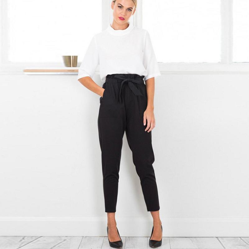 Compre 2019 Nuevo Estilo De Cintura Elástica De Alta Cintura Harem  Pantalones Mujeres Primavera Verano Moda Noveno Pantalones Mujer Oficina  Señora ... 1a13f3d9c0a