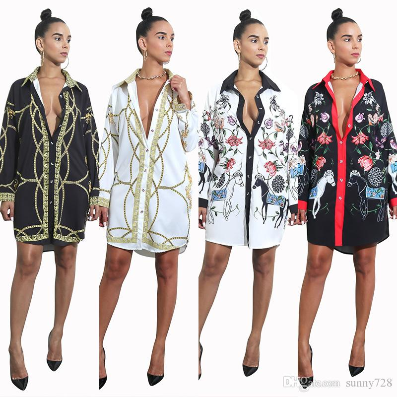 Latest Fashion Full Printed Long Women Shirt Dresses Spring Lapel Neck Button Long Sleeves Sexy Lady Dress Best Selling 2018 ship from China