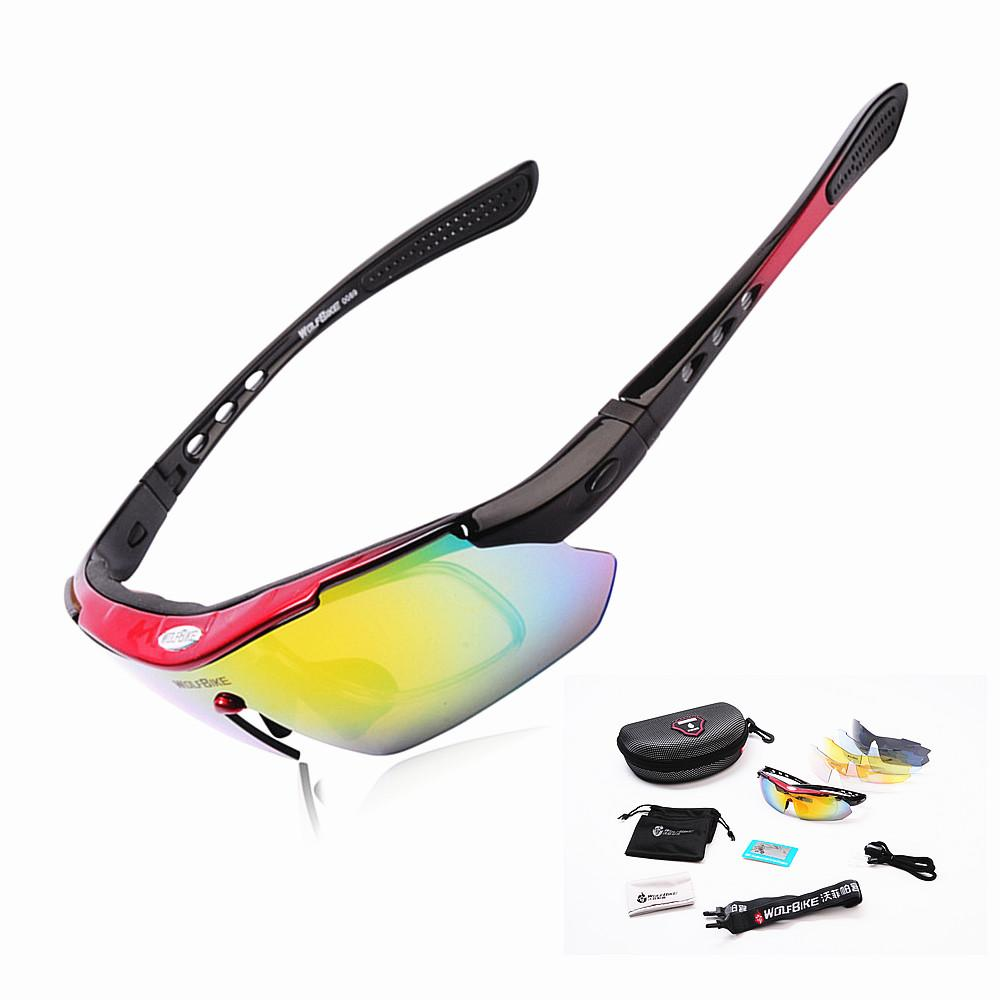 b55398298c WOLFBIKE Polarized 5 Lens Cycling Eyewear Sun Glasses Mens Sports Bicycle  Glasses Bike Sunglasses Driving Skiing Goggles Red Goggle Sunglasses Bicycle  ...