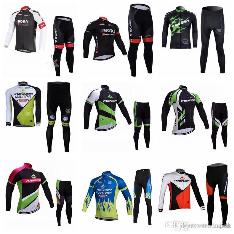 e6b301d49 BORA MERIDA Team Cycling Long Sleeves Jersey Pants Sets Men s ...