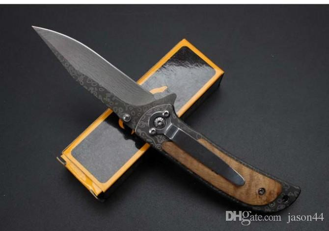 Browning 338 wood handle Camping Hunting Survival Knife Clasp EDC Tools Outdoor high hardness curved blade folding gift knife wholesal