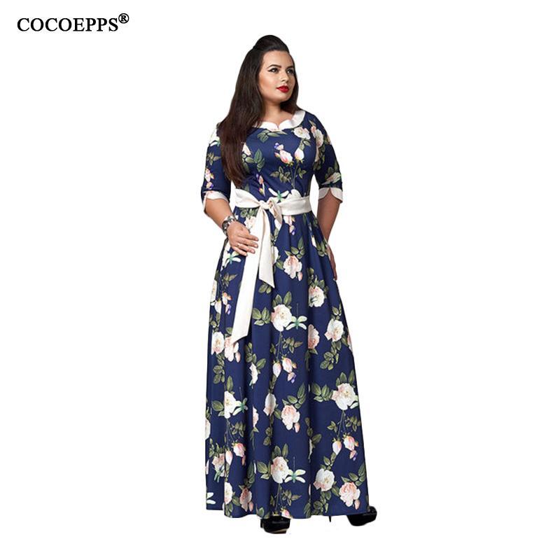17623ed3df4 5XL 6XL Sexy Maxi Dress Big Size 2018 Women Summer Plus Size Party Dress  Vintage Loose Floral Printing Boho Style Long Dresses Y1890810 Black  Strapless ...