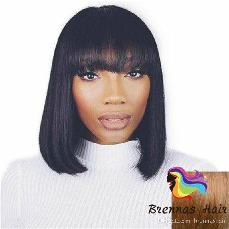 Best Quality Human Hair Bob Wigs 130 Brazilian Hair Lace Front