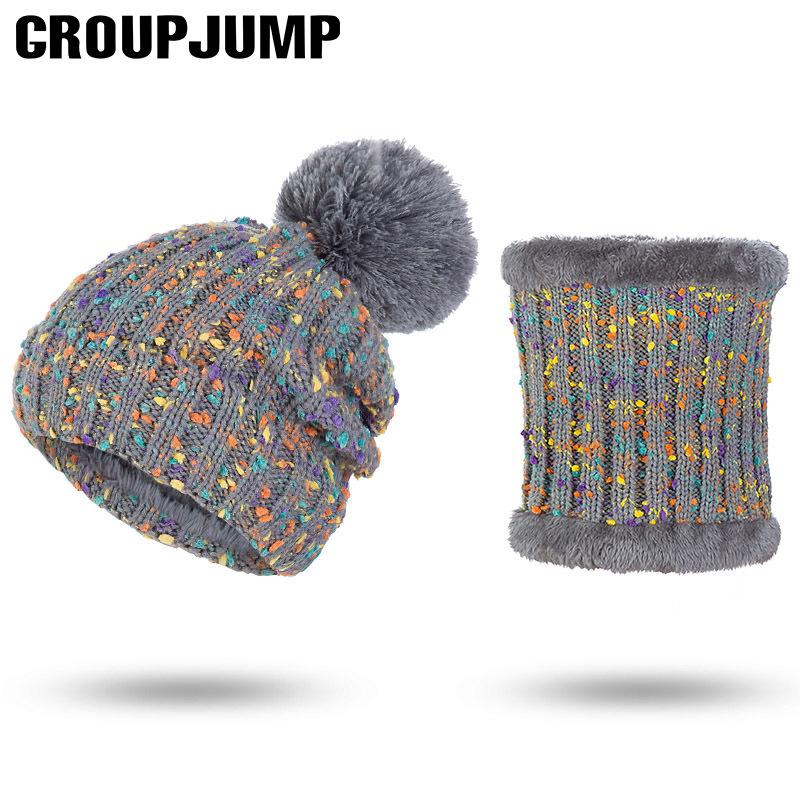 4aeb6173815 Set Winter Hat Scarf For Women Hat Scarf Pom Pom Beanies Knitted Scarf  Winter Female Thick Hat And Scarf Set C18103101 Online with  21.24 Piece on  Shen84 s ...