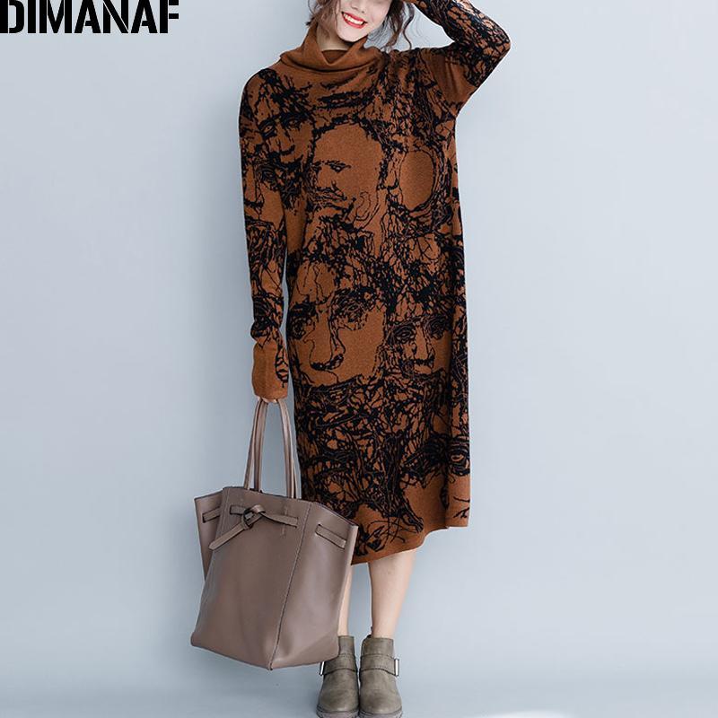 a7587f39f Compre DIMANAF Mulheres Inverno Longo Vestidos Engrosse Tricô De ...