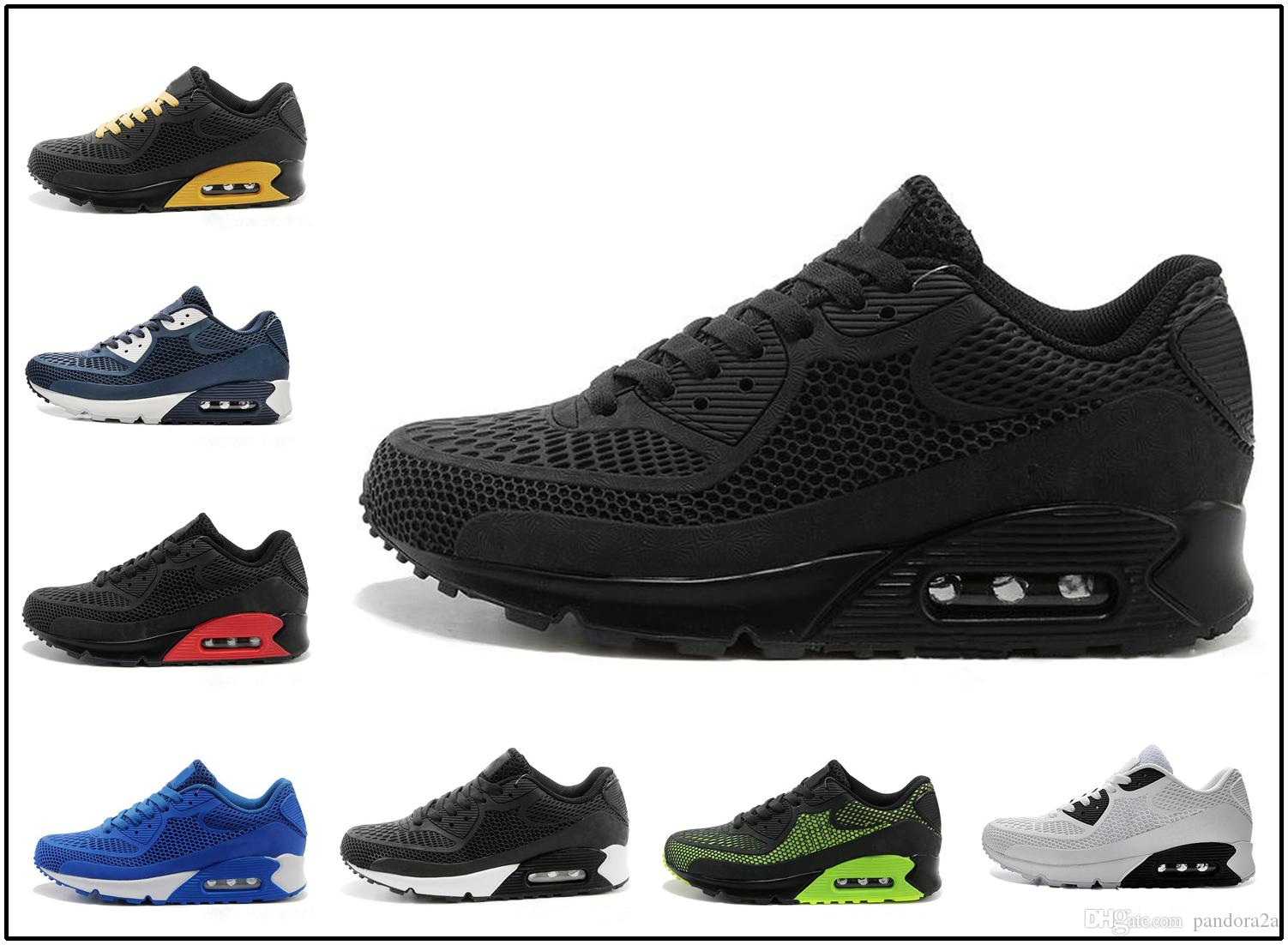 sale retailer 02d4e fa84a Compre Nike Air Max Airmax 90 Kpu 2018 Nova Tênis De Corrida Almofada 90  KPU Homens Mulheres Tênis De Alta Qualidade Barato Todos Preto Chaussure  Homme ...