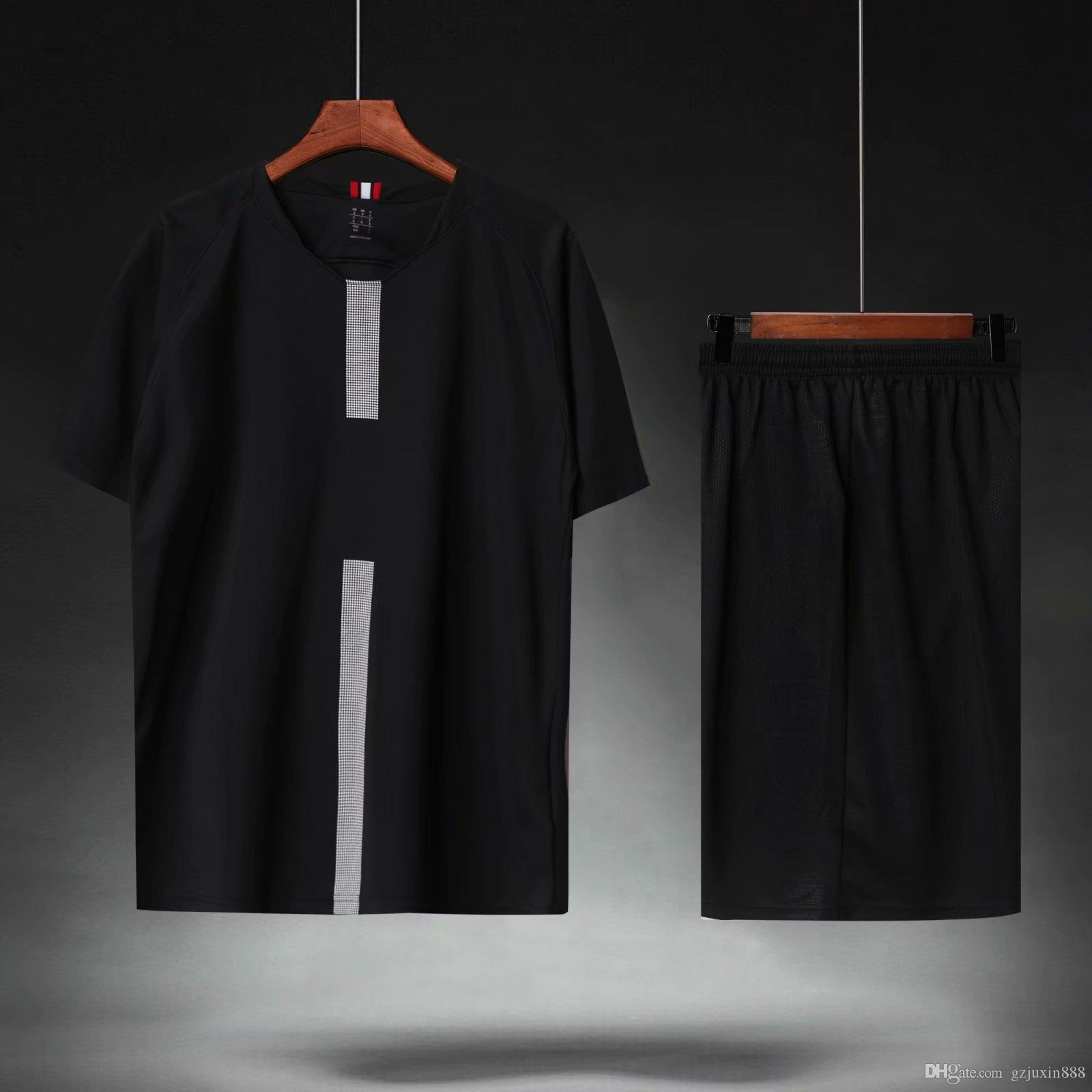 buy popular aa5dc 45684 2018 19 Top Thailand Beste Qualität Schwarz Farbe DIY Anpassen Männer  Fußball Sets von jersey Shorts Männlichen Fußball Outfit Mann Kit Anzüge  Uniform