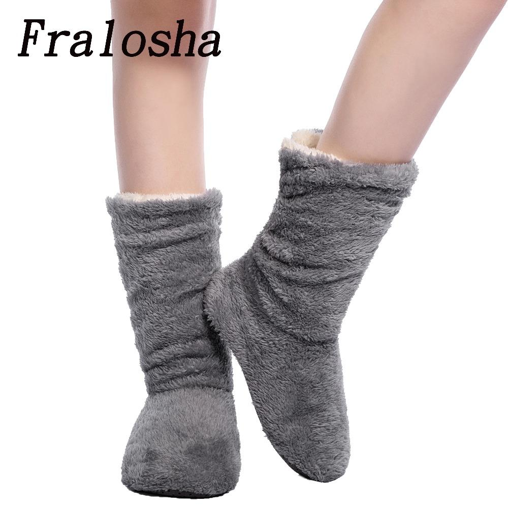 13aea13bf FRALOSHA Dropshipping   Wholesale Women Plush Home Shoe Coral Fleece Indoor  Floor Sock Winter Foot Warmer Soft Bottom Slippers Wedge Shoes Flat Shoes  From ...